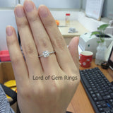 Round Moissanite Engagement Ring Pave Diamond Wedding 14K White Gold 7mm - Lord of Gem Rings - 5