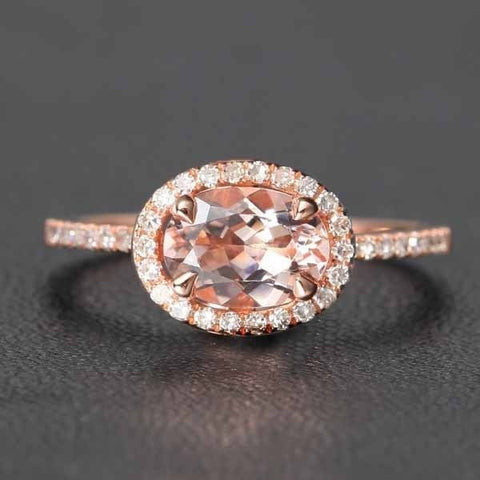 Oval Morganite Engagement Ring Pave Diamond Halo 14K Rose Gold 6x8mm E-W direction - Lord of Gem Rings - 1