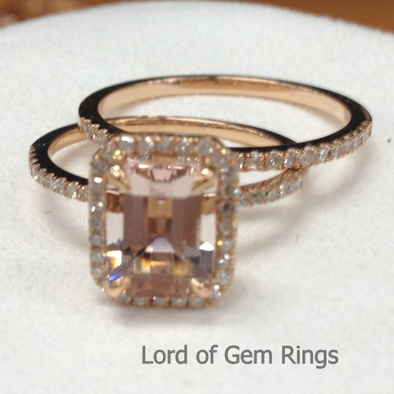 Reserved for mmarien411 Emerald Cut Morganite Wedding Bridal Set 14K White Gold - Lord of Gem Rings - 1
