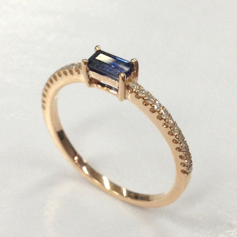 Emerald Cut Blue Sapphire Engagement Ring Pave Diamond Wedding 14K Rose Gold 2.5x4.5mm - Lord of Gem Rings - 1