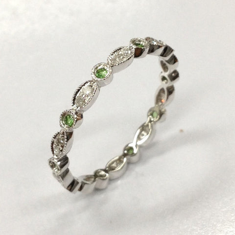 Reserved for Emily Peridot Diamond Wedding Band Eternity Anniversary Ring 14K White Gold - Lord of Gem Rings - 1