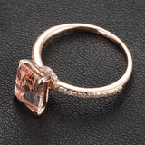 Emerald Cut Morganite Engament Ring Pave  Diamond Wedding 14k Rose Gold 6x8mm - Lord of Gem Rings - 3