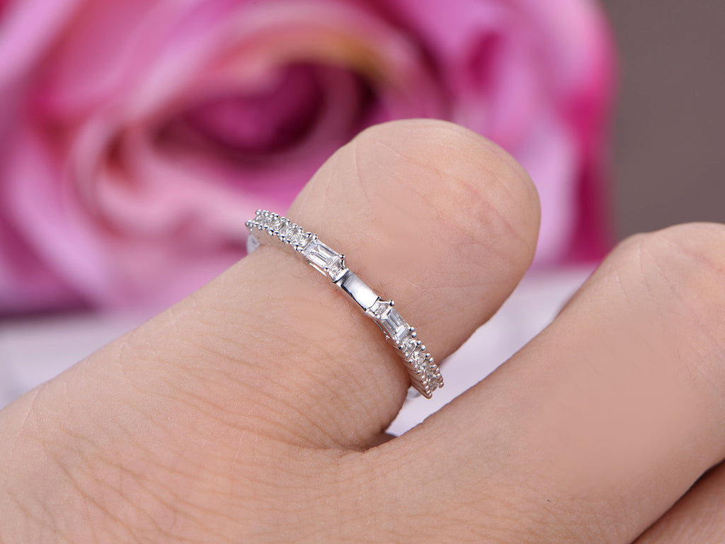 $435 Diamond Wedding Band Half Eternity Anniversary Ring 14K White ...