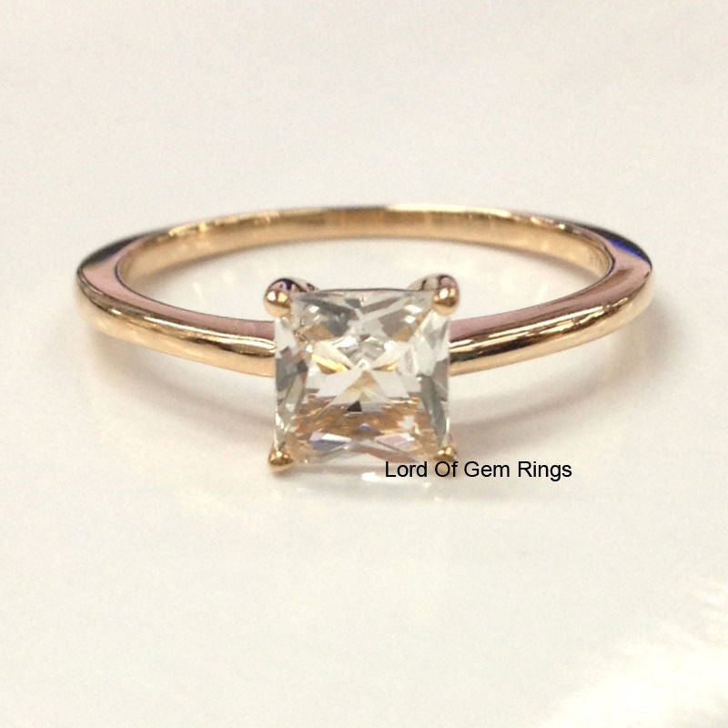 Princess Morganite Engament Ring 14k Rose Gold 5mm - Lord of Gem Rings - 1