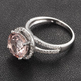 Ready to Ship - Round Morganite Engagement Ring Pave Diamond Wedding 14K White Gold 8mm Split Shank - Lord of Gem Rings - 5