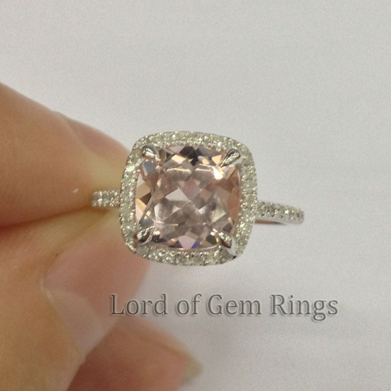 Reserved for punkin1006,7mm Cushion Morganite Ring 14K Rose Gold, size 4.5 - Lord of Gem Rings - 1
