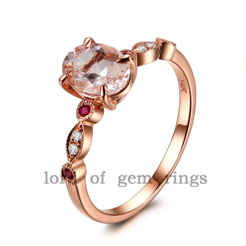 Ready to Ship - Oval Morganite Engagement Ring Diamond / Ruby 14K Rose Gold 6x8mm - Lord of Gem Rings - 1