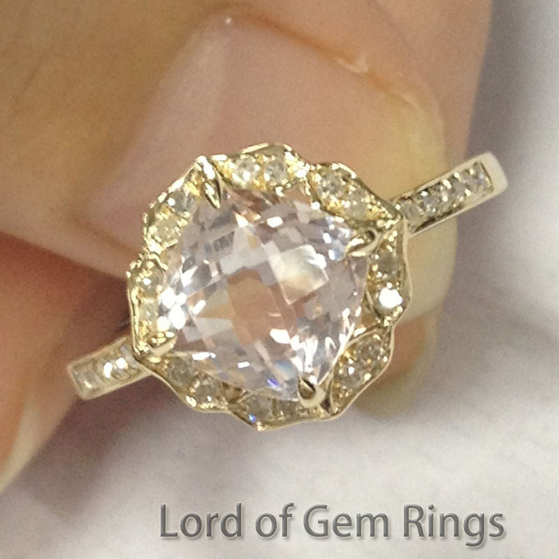 Ready to Ship - Cushion Morganite Engagement Ring Pave Diamond 14K Yellow Gold Vintage Floral Design 7mm - Lord of Gem Rings - 1