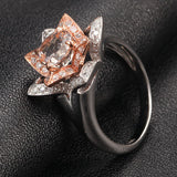 Round Morganite Engagement Ring Diamond 14K Two Tone Gold 7mm Unique Flower CLAW PRONGS - Lord of Gem Rings - 2