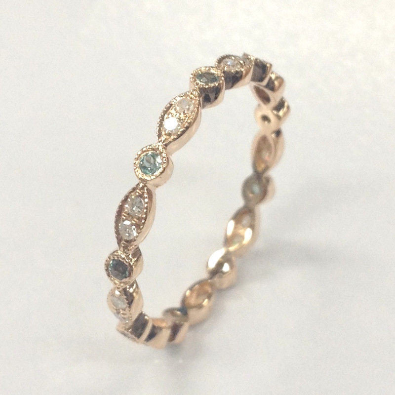 Green Alexandrite Diamond Wedding Band!Eternity Anniversary Ring,14K Rose Gold - Lord of Gem Rings - 1