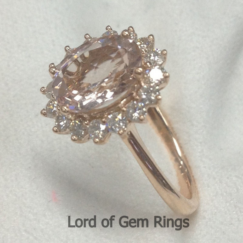 Oval Morganite Engagement Ring Diamond Halo 14K Rose Gold 7x9mm Flower Design - Lord of Gem Rings - 1