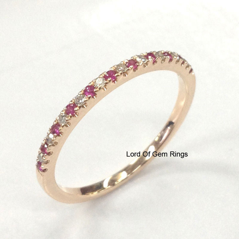 Pave Ruby Diamond Wedding Band Half Eternity Anniversary Ring 14K Rose Gold - Lord of Gem Rings - 1