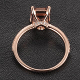 Emerald Cut Morganite Engament Ring Pave  Diamond Wedding 14k Rose Gold 6x8mm - Lord of Gem Rings - 5