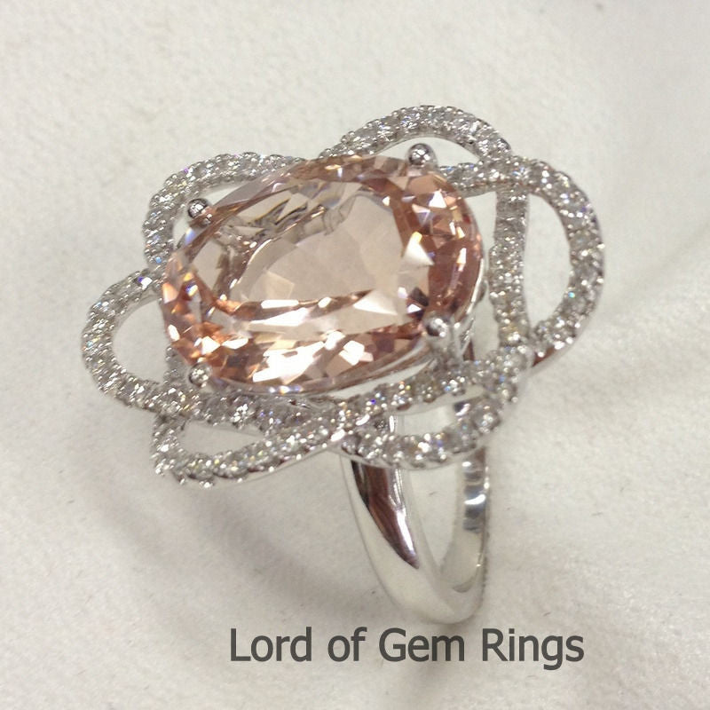Oval Morganite Engagement Ring Pave Diamond Wedding 14K White Gold 10x14mm - Lord of Gem Rings - 1