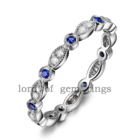Pave Sapphire Diamond Wedding Band Eternity Anniversary Ring 14K White Gold Antique Art Deco - Lord of Gem Rings - 1