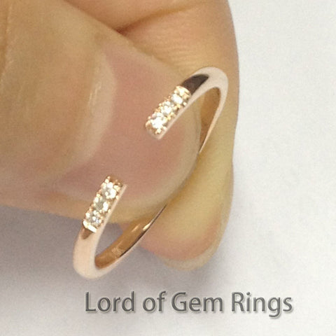 Pave Diamond Wedding Band Unique Anniversary Ring 14K Rose Gold - Lord of Gem Rings - 1