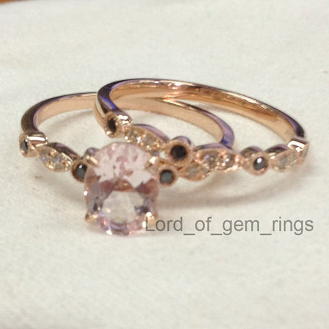Oval Morganite Engagement Ring Sets Clear/Black Diamonds 14K Rose Gold, 6x8mm Art Deco Antique - Lord of Gem Rings - 1