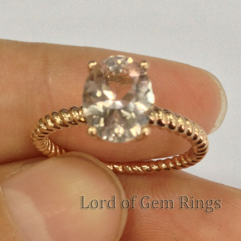 Oval Morganite Engament Ring 14k Rose Gold 7x9mm Solitaire Filigree - Lord of Gem Rings - 1