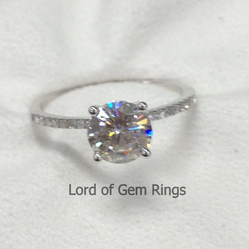 Ready to Ship - Moissanite Engagement Ring with Pave Diamonds in 14K White Gold - Lord of Gem Rings - 2