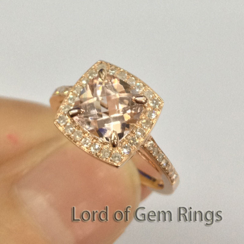 Cushion Morganite Engagement Ring Sets Pave Diamond Wedding 14K Rose Gold 7mm - Lord of Gem Rings - 1