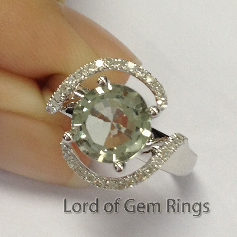 Round Green Amethyst Engagement Ring Pave Diamond Wedding 14K White Gold 8mm Flower - Lord of Gem Rings - 1