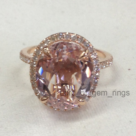 Reserved for Rebecca Oval  Pink Morganite Engagement Ring Pave Diamond Wedding 14K Rose Gold - Lord of Gem Rings - 3