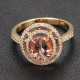 Oval Morganite Engagement Ring Pave Diamond Double Halo 14K Yellow Gold 6x8mm - Lord of Gem Rings - 1