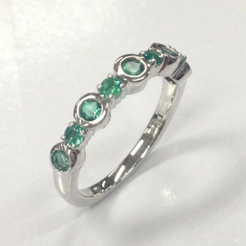 Natural Emerald Wedding Band Half Eternity Anniversary Ring 14K White Gold Bezel Set - Lord of Gem Rings - 6