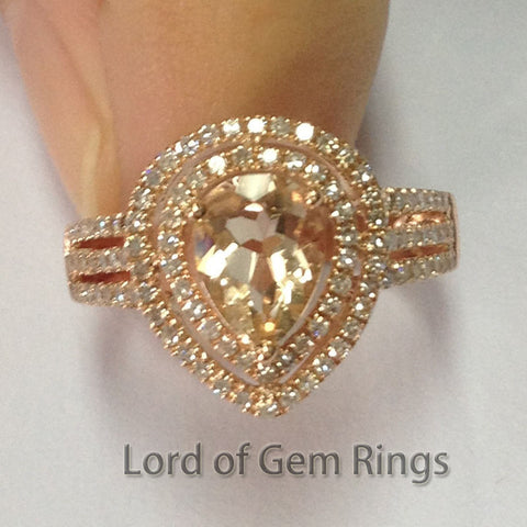 Pear Morganite Engagement Ring Pave Diamond Wedding 14K Rose Gold 6x8mm Double Halo - Lord of Gem Rings - 1