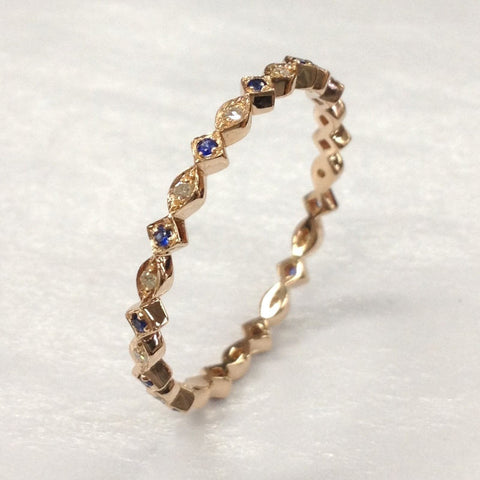 Blue Sapphire Diamond Wedding Band!14K Rose Gold,Anniversary Ring,Width 2.2mm - Lord of Gem Rings - 1
