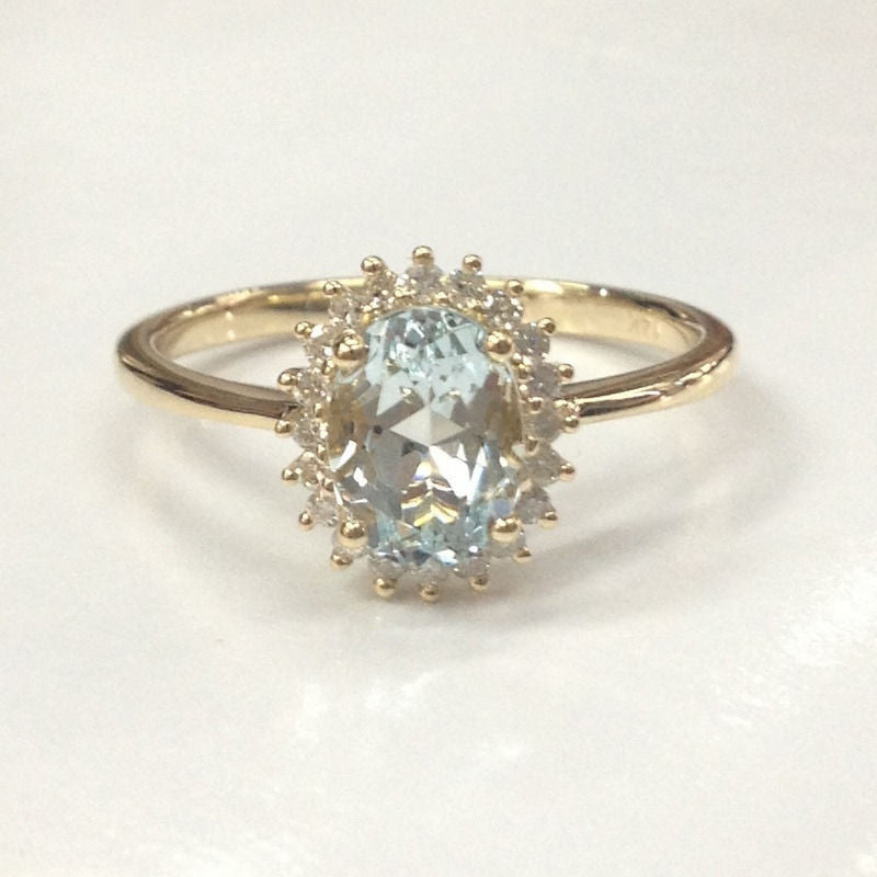 Oval Blue Aquamarine Engagement Ring  Diamond Halo 14K Yellow Gold 6x8mm - Lord of Gem Rings - 1