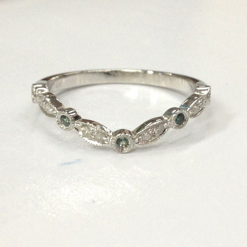 Green Alexandrite Diamond Wedding Band!Eternity Anniversary Ring,14K White Gold - Lord of Gem Rings - 1