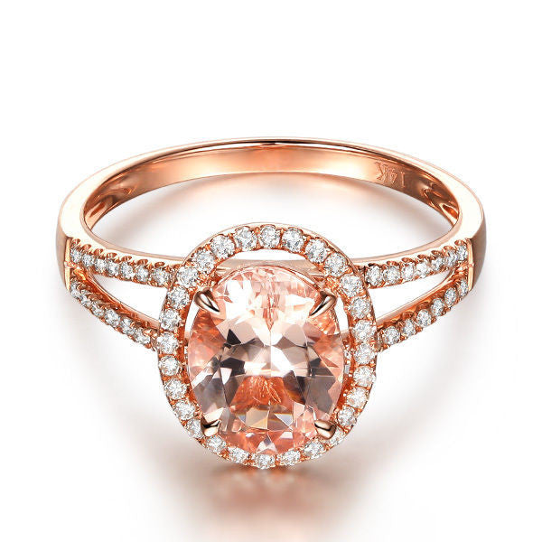 Ready to Ship - Oval Morganite Engagement Ring Pave Diamond Wedding 14K Rose Gold 6x8mm Split Shank:14KR-OvalMorg68-Split - Lord of Gem Rings - 1