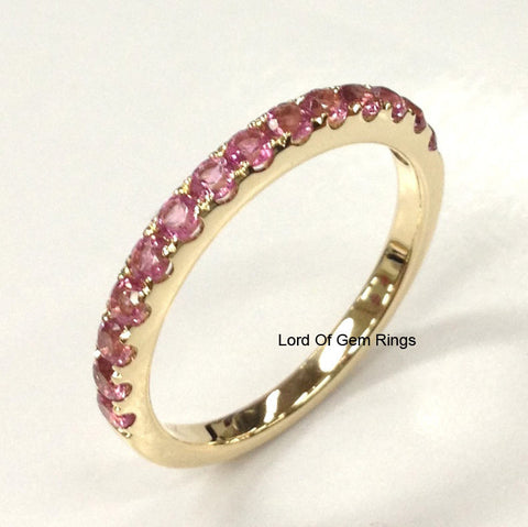 Pink Tourmaline Wedding Band Eternity Anniversary Ring 14K Yellow Gold 2mm - Lord of Gem Rings - 1