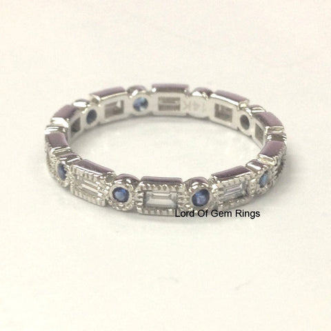 Blue Sapphire Baguette Diamond Wedding Band Eternity Anniversary Ring 14K White Gold Art Deco - Lord of Gem Rings - 1
