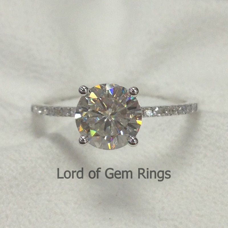 Reserved for Diego,Custom Moissanite Engagement Ring,18K White Gold, Forever Brilliant Round - Lord of Gem Rings - 1