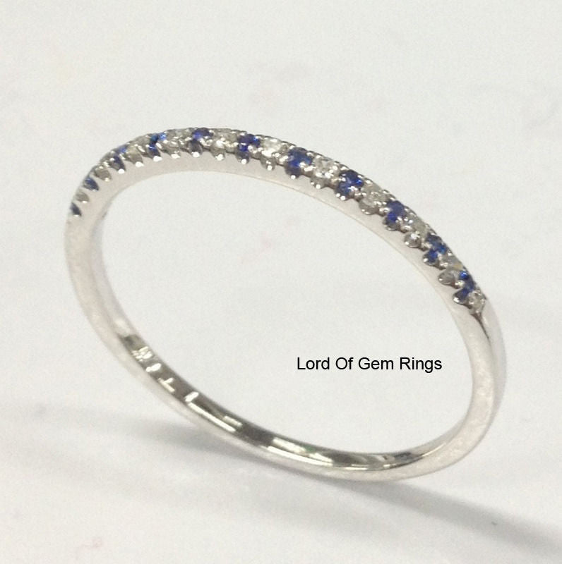 Pave Blue Sapphire Diamond Wedding Band Half Eternity Ring 14K White Gold - Lord of Gem Rings - 1