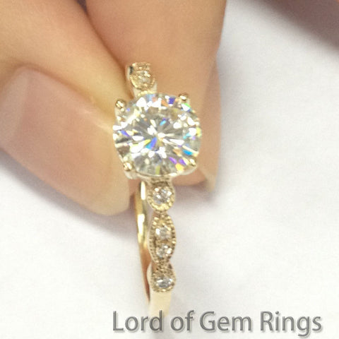 Round Moissanite Engagement Ring Pave Diamond Wedding 14K Yellow Gold 6.5mm Art Deco - Lord of Gem Rings - 1