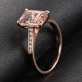 6x8mm Emerald Cut Morganite & Diamonds Engagement Ring in 14K Rose Gold - Lord of Gem Rings - 2