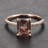 Emerald Cut Morganite Engament Ring Pave  Diamond Wedding 14k Rose Gold 6x8mm - Lord of Gem Rings - 2