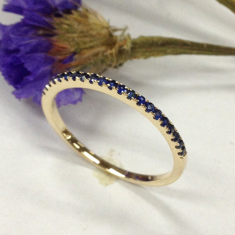 Sapphire Wedding Band Half Eternity Anniversary Ring 14K Yellow Gold - Thin Design - Lord of Gem Rings - 1
