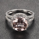 Ready to Ship - Round Morganite Engagement Ring Pave Diamond Wedding 14K White Gold 8mm Split Shank - Lord of Gem Rings - 3