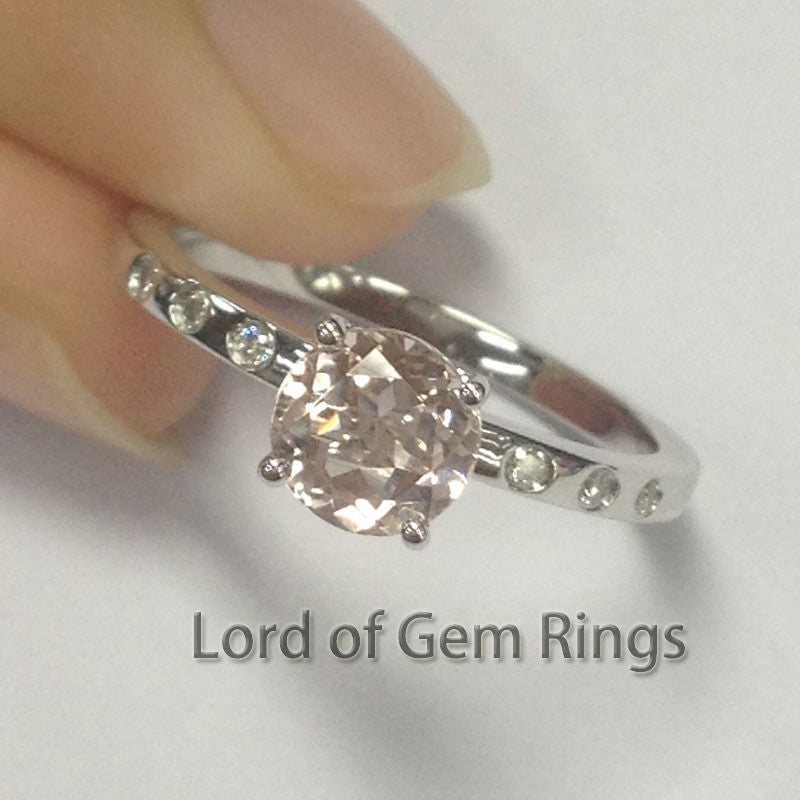 Round Morganite Engament Ring Diamond 14k White Gold 6.5mm Bezel - Lord of Gem Rings - 1