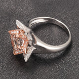 Round Morganite Engagement Ring Diamond 14K Two Tone Gold 7mm Unique Flower CLAW PRONGS - Lord of Gem Rings - 3