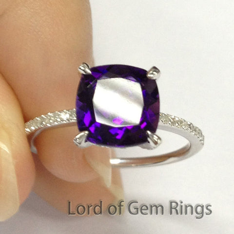 Cushion Amethyst  Engagement Ring Pave Diamond Wedding 14K White Gold 8mm - Lord of Gem Rings - 1
