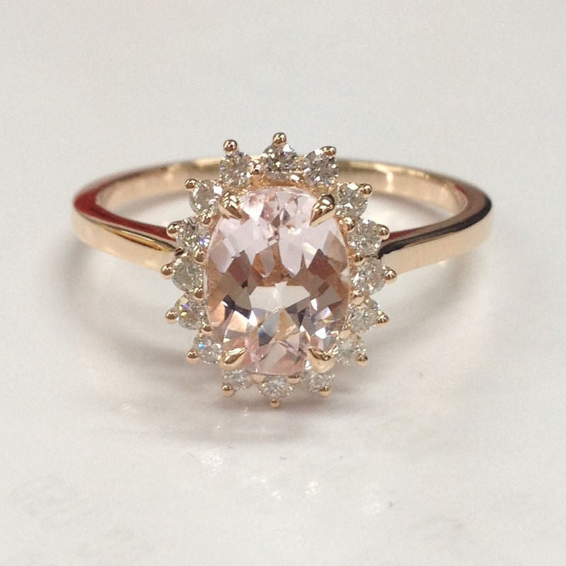 Oval Morganite Engagement Ring Diamond 14K Rose Gold 6x8mm Head Raised - Lord of Gem Rings - 1