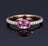 Oval Pink Sapphire Engagement Ring Pave Diamond Wedding 14K Rose Gold 4x6mm - Lord of Gem Rings - 3