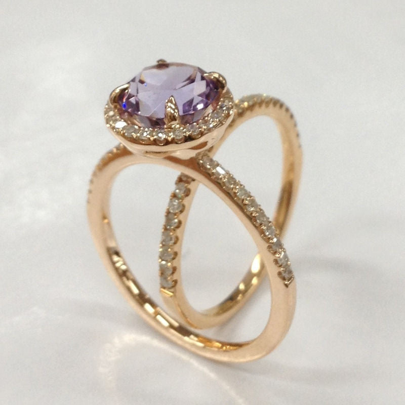 Round Amethyst Engagement Ring Sets Pave Diamond Wedding 14K Rose Gold 7mm - Lord of Gem Rings - 1