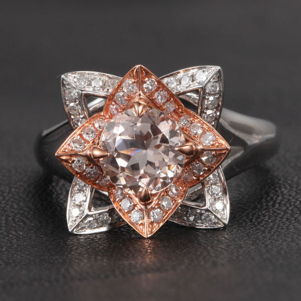 Round Morganite Engagement Ring Diamond 14K Two Tone Gold 7mm Unique Flower CLAW PRONGS - Lord of Gem Rings - 1