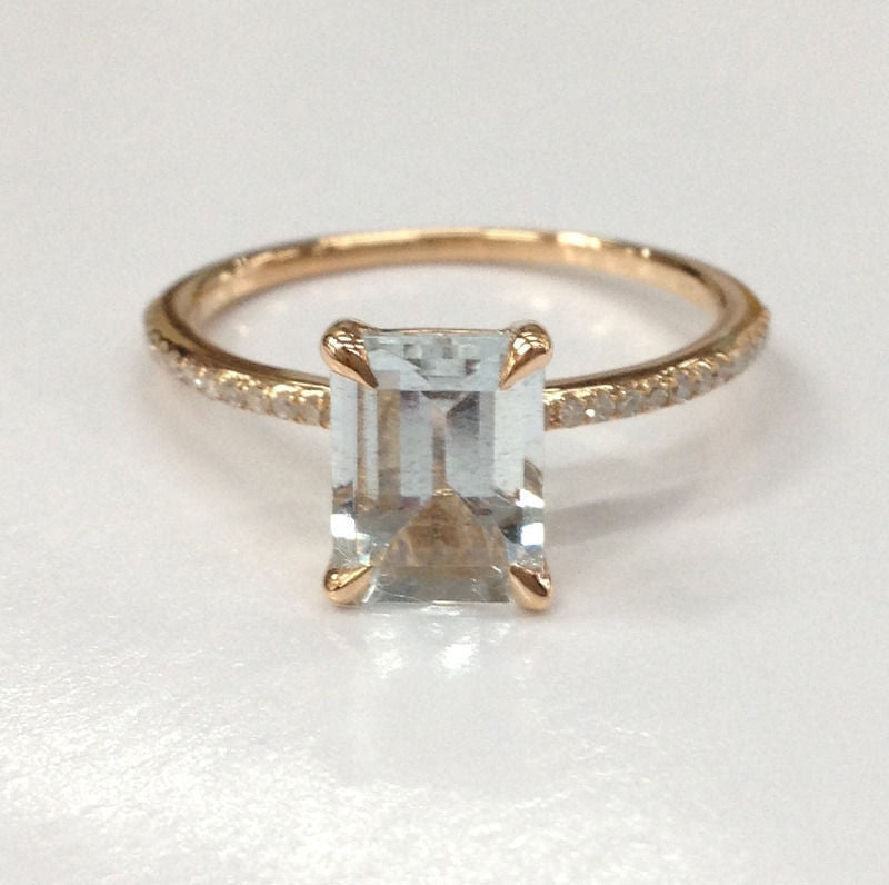 Emerald Cut Aquamarine Engagement Ring Pave Diamond Wedding 14K Rose Gold 6x8mm - Lord of Gem Rings - 1